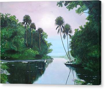 Miday Or The River Canvas Print by Francis Roberts ll