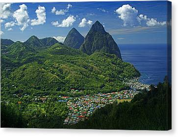 Midday- Pitons- St Lucia Canvas Print by Chester Williams