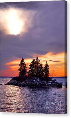 Rocky Maine Coast Canvas Print - Middle Bay Island  by Olivier Le Queinec
