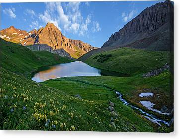 Canvas Print featuring the photograph Middle Blue Lake Sunrise by Aaron Spong