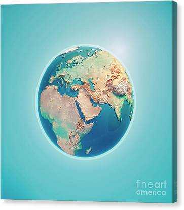 Middle East 3d Render Planet Earth Canvas Print by Frank Ramspott