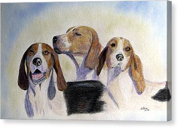 Working Dog Canvas Print - Middleburg Hounds by Angela Davies