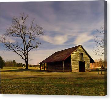 Midnight At The Mule Barn Canvas Print by George Randy Bass