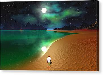 Midnight Beach Walk - Sea Of Cortezz Canvas Print by David Jackson