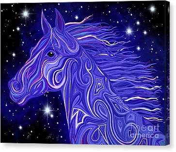 Canvas Print featuring the drawing Midnight Blue Mustang by Nick Gustafson