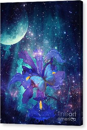 Canvas Print featuring the digital art Midnight Butterfly by Mo T