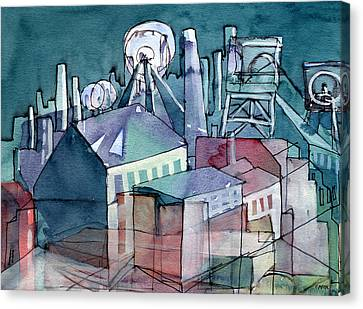 Midnight Colliery Original Watercolour Painting Canvas Print