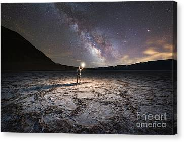 Midnight Explorer At Badwater Basin  Canvas Print by Michael Ver Sprill
