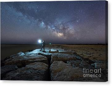 Midnight Explorer At The Barnegat Jetty  Canvas Print by Michael Ver Sprill