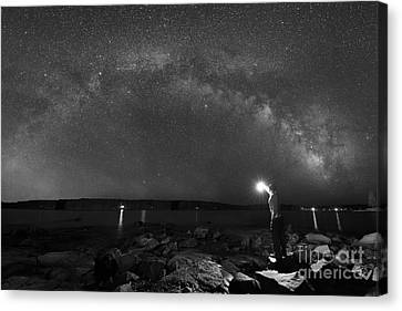 Midnight Explorer At The Waters Edge Bw Canvas Print by Michael Ver Sprill