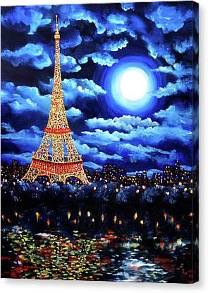 Eiffel Tower Canvas Print - Midnight In Paris by Laura Iverson