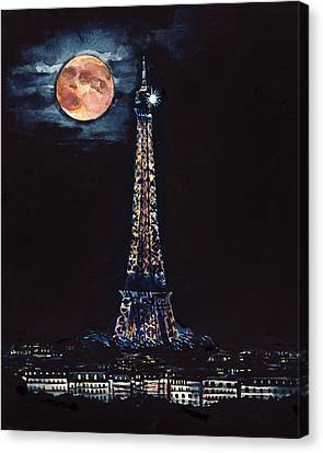 Midnight In Paris Canvas Print by Laura Row