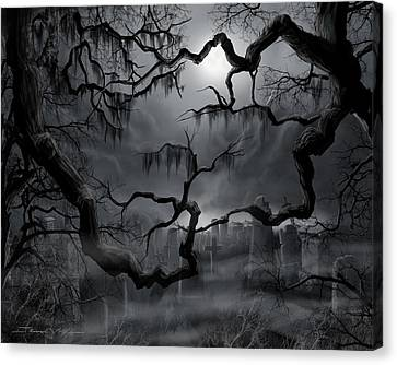 Midnight In The Graveyard II Canvas Print by James Christopher Hill