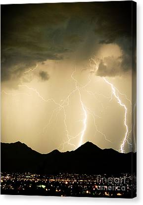 Midnight Lightning Storm Canvas Print
