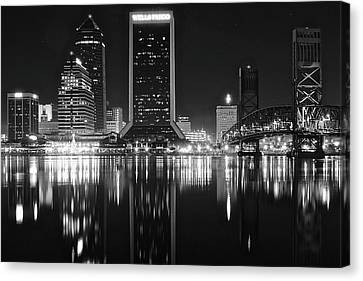 Midnight Lights In Jacksonville Canvas Print by Frozen in Time Fine Art Photography