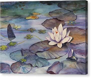 Midnight Lily Canvas Print by Jun Jamosmos