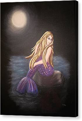 Canvas Print featuring the painting Midnight Mermaid by Teresa Wing