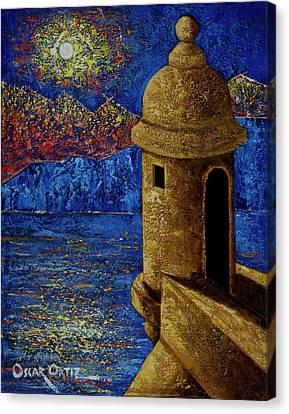 Puerto Rican Canvas Print - Midnight Mirage In San Juan by Oscar Ortiz