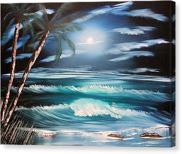 Midnight Ocean Canvas Print by Sheldon Morgan