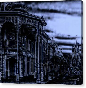 Midnight On Main Street Disney World Mp Canvas Print by Thomas Woolworth