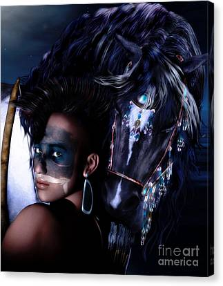 Horse Lover Canvas Print - Midnight Ride by Shanina Conway