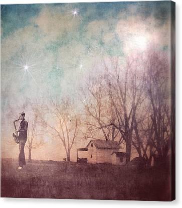 Eternal Flow Canvas Print - Expansion-midnight Saxophone Magic by Melissa D Johnston