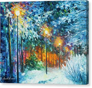 Midnight Snow Songs  Canvas Print by Leonid Afremov