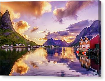 Canvas Print featuring the photograph Midnight Sun Reflections In Reine by Dmytro Korol