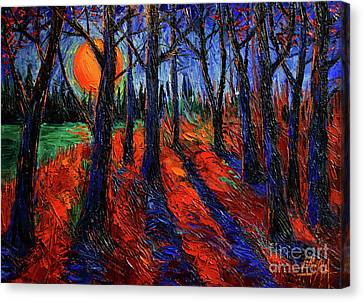 Midnight Sun Wood Canvas Print by Mona Edulesco