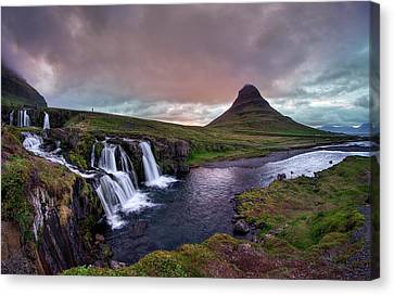 Canvas Print featuring the photograph Midnight Sunset At Kirkjufellsfoss by Peter Thoeny