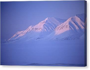 Midnight Sunset On Polar Mountains Canvas Print