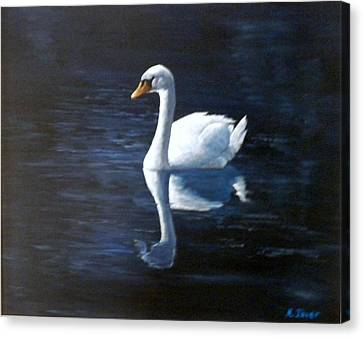 Midnight Swan Canvas Print by Marti Idlet