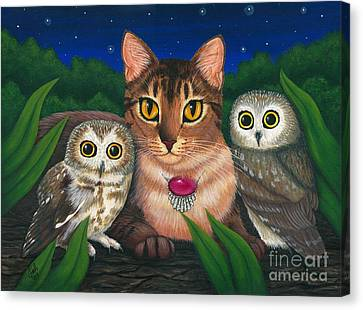 Canvas Print featuring the painting Midnight Watching - Abyssinian Cat Saw Whet Owls by Carrie Hawks