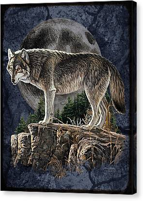 Midnight Wolf Canvas Print by JQ Licensing