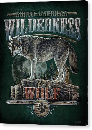 North American Wildlife Canvas Print - Midnight Wolf Sign by JQ Licensing