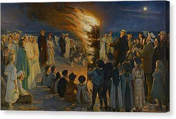 Midsummer Eve Bonfire On Skagen Beach  Canvas Print by Movie Poster Prints