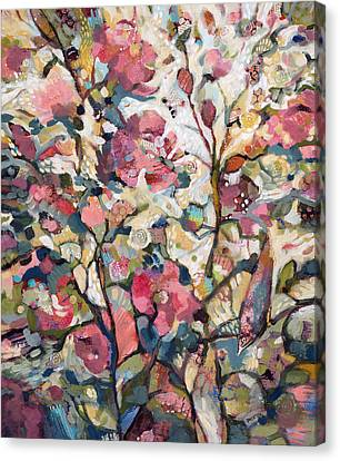 Hollyhock Canvas Print - Midsummer Hollyhocks by Jen Norton