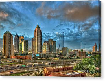 Canvas Print featuring the photograph Midtown Atlanta Sunrise Construction Boom Art by Reid Callaway