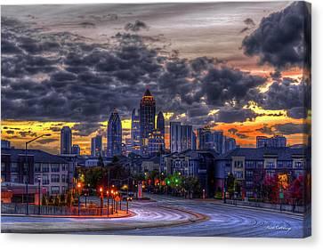 Scad Canvas Print - Midtown Atlanta Towers Over Atlantic Commons 2 Atlanta Sunrise Art by Reid Callaway