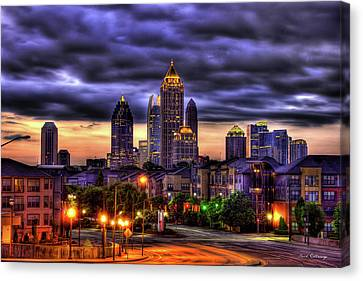 Canvas Print featuring the photograph Midtown Atlanta Towers Over Atlantic Commons by Reid Callaway