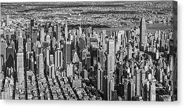 Midtown Manhattan Nyc Aerial View Bw Canvas Print by Susan Candelario