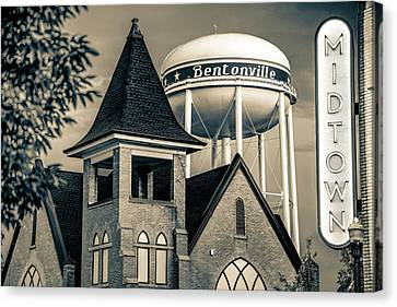Midtown Neon On The Bentonville Arkansas Square - Sepia Canvas Print by Gregory Ballos