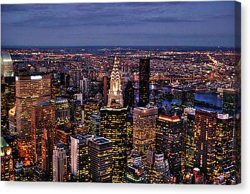 Midtown Skyline At Dusk Canvas Print by Randy Aveille