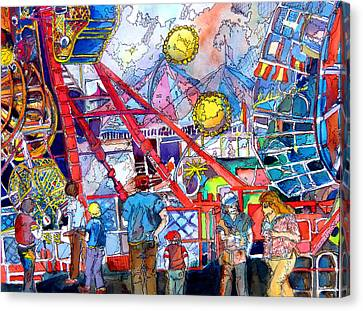Midway Amusement Rides Canvas Print by Mindy Newman