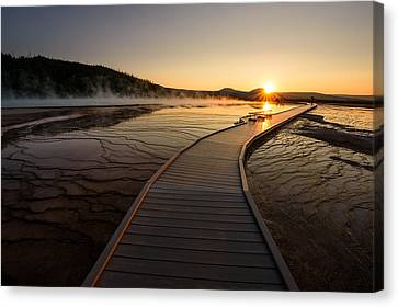 Canvas Print featuring the photograph Midway Basin Sunset by Dan Mihai
