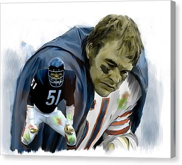 Walter Payton Canvas Print - Midway  Dick Butkus by Iconic Images Art Gallery David Pucciarelli