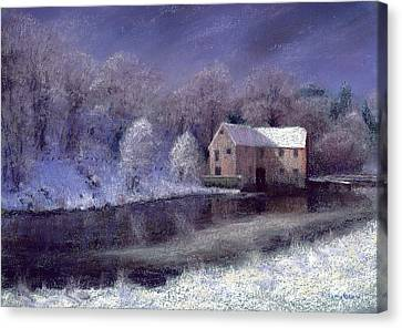 Midwinter At The Mill Canvas Print by Anthony Rule