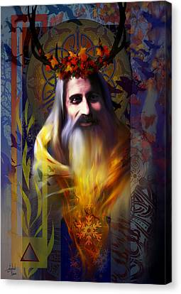 Wiccan Canvas Print - Midwinter Solstice Fire Lord by Stephen Lucas