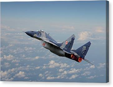 Canvas Print featuring the digital art Mig 29 - Polish Fulcrum Dedication by Pat Speirs