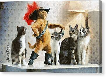 Chat Canvas Print - Mighty Cat With Boots by Leonardo Digenio